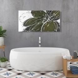 Canvas 24 x 48 - Green flower with splash outline