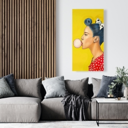 Canvas 24 x 48 - Retro woman with beautiful ponytail