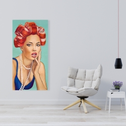 Canvas 24 x 48 - Pin up girl with curlers
