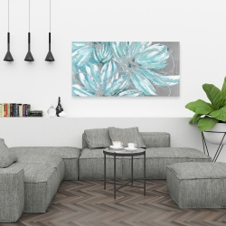 Canvas 24 x 48 - Three little abstract blue flowers