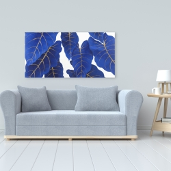 Canvas 24 x 48 - Tropical abstract blue leaves