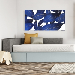 Canvas 24 x 48 - Abstract modern blue leaves