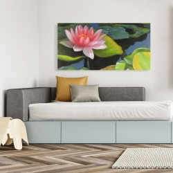 Canvas 24 x 48 - Water lilies and lotus flowers