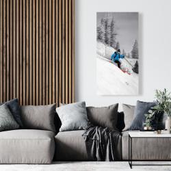 Canvas 24 x 48 - Man skiing in mountain
