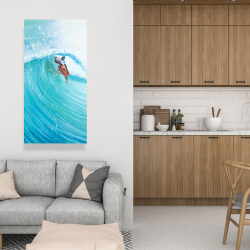 Canvas 24 x 48 - Surfer in the middle of the wave