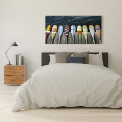 Canvas 24 x 48 - Colorful paddles on the dock
