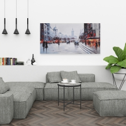 Canvas 24 x 48 - Street scene with cars
