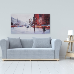 Canvas 24 x 48 - Black and red street scene