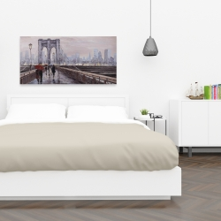 Canvas 24 x 48 - Brooklyn bridge with passersby