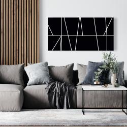 Canvas 24 x 48 - White stripes on black background