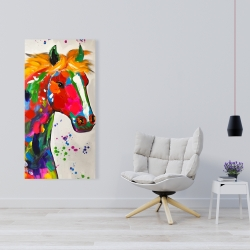 Canvas 24 x 48 - Abstract colorful horse with paint splash