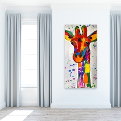 Canvas 24 x 48 - Abstract colorful giraffe with paint splash