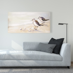 Canvas 24 x 48 - Two sandpipers on the beach