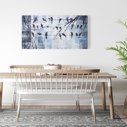 Canvas 24 x 48 - Abstract birds on electric wire