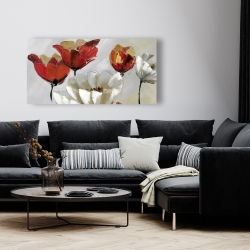 Canvas 24 x 48 - Abstract red and white flowers