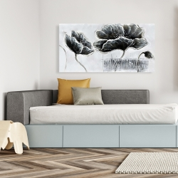 Canvas 24 x 48 - Industrial style grayscale flowers
