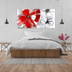 Canvas 24 x 48 - Red & gray flowers