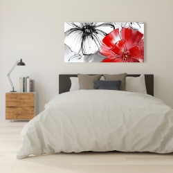 Canvas 24 x 48 - Red & white flowers sketch