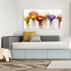 Canvas 24 x 48 - Multiple colorful abstract flowers