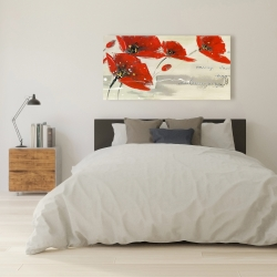 Canvas 24 x 48 - Abstract red flowers in the wind