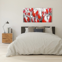 Canvas 24 x 48 - Abstract red tulips