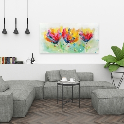 Canvas 24 x 48 - Four colorful flowers