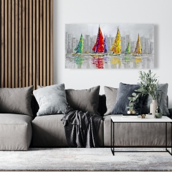 Canvas 24 x 48 - Sailboats in the wind
