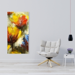 Canvas 24 x 48 - Texturized yellow flowers