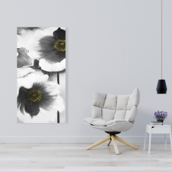 Canvas 24 x 48 - Black and white flowers