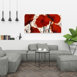 Canvas 24 x 48 - Abstract paint splash red flowers