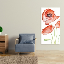 Canvas 24 x 48 - Watercolor poppies