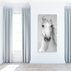 Canvas 24 x 48 - Monochrome mighty white horse