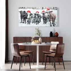 Canvas 24 x 48 - Curious christmas cows