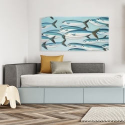 Canvas 24 x 48 - Small fish of caesio caerulaurea