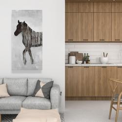 Canvas 24 x 48 - Gambading abstract horse
