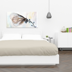 Canvas 24 x 48 - Butterfly on blue flowers