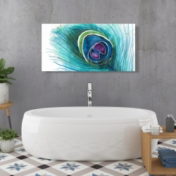 Canvas 24 x 48 - Peacock feather closeup