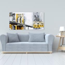 Canvas 24 x 48 - Yellow brooklyn bridge with taxis