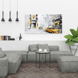 Canvas 24 x 48 - New york city with taxis