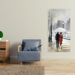 Canvas 24 x 48 - Couple walking under the rain