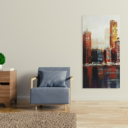 Canvas 24 x 48 - Abstract red cityscape