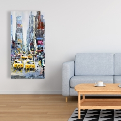 Canvas 24 x 48 - Urban scene with yellow taxis