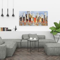 Canvas 24 x 48 - Colorful buildings with water reflection