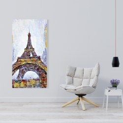 Canvas 24 x 48 - Abstract paint splash eiffel tower