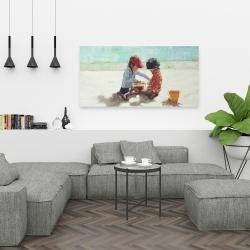 Canvas 24 x 48 - Little girls at the beach