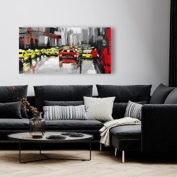 Canvas 24 x 48 - Abstract traffic by a rainy day