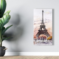 Canvas 24 x 48 - Eiffel tower sketch with an handwritten message