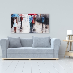 Canvas 24 x 48 - People with umbrellas in the street