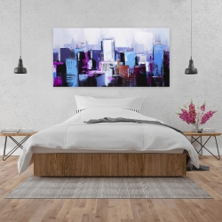 Canvas 24 x 48 - Abstract blue & purple city