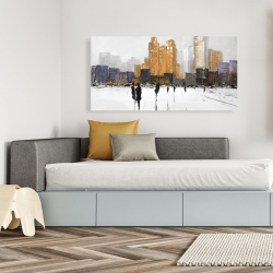 Canvas 24 x 48 - Silhouettes walking towards the city